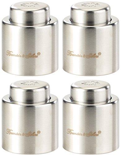 Rosenstein & Söhne Flaschenverschluss: Verschluss für Sekt-u. Champagnerflaschen aus gebürstetem Stahl,4erSet (Bar)