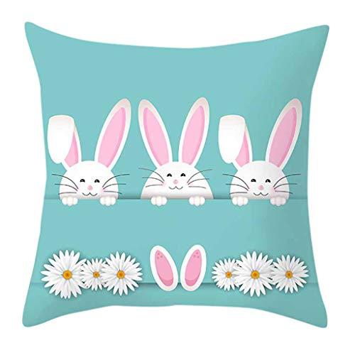 Preisvergleich Produktbild Kissenbezüge drucken Ostern Rabbit Kaninchen Kissenbezug Kissenbezug Zierkissenbezüge Throw Pillow Covers Cases Festival Deko Decoration Kissenhülle Schlafsofa URIBAKY