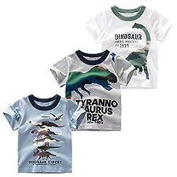 1. Nuziku Boy's Short Sleeve Crewneck Dinosaur T-Shirts (3-pack)