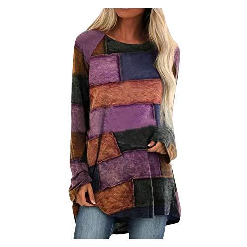yayay Mujeres Geométricas Impresión Costuras Color Suelto Manga Larga Top Camiseta Blusa
