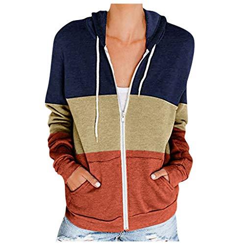 TIMEMEAN Jacken Damen Große Größen Leicht Lange Ärmel Kragenlos Reißverschluss Tasche Patchwork Mit Kapuze Sweatshirt