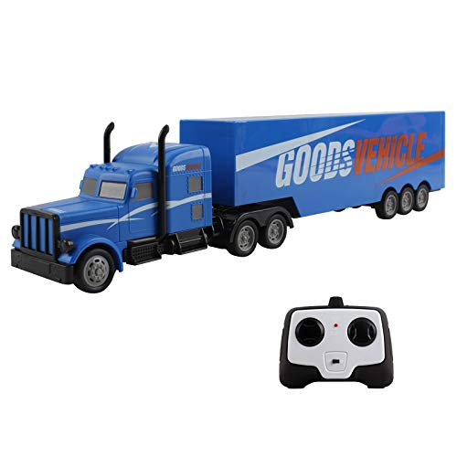 Vokodo RC Semi Truck And Trailer 18 Inch 2.4Ghz Fast Speed 1:16 Scale Electric Hauler Rechargeable Battery Included Remote Control Car Kids Big Rig Toy Vehicle Great Gift For Children Boys Girl (Blue)