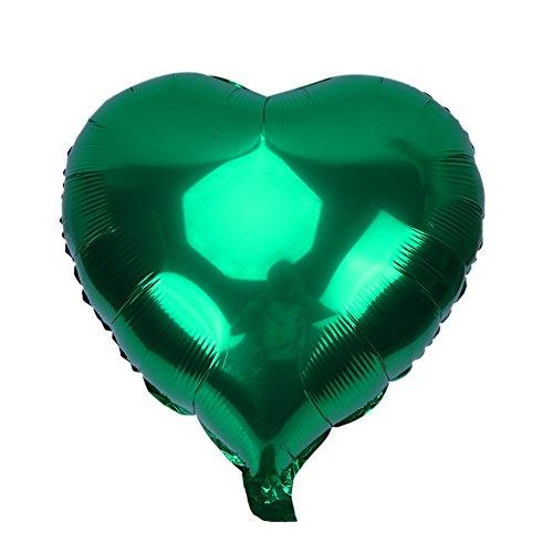 Zhiheng 10ST Herz Folie Ballons Helium Geburtstag Hochzeit Valentinstag Globos Party Dekoration Luftballons (Grün)
