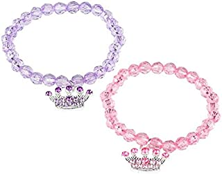 Rhode Island Novelty Princess Tiara Beaded Stretch Bracelets | Pack of 12