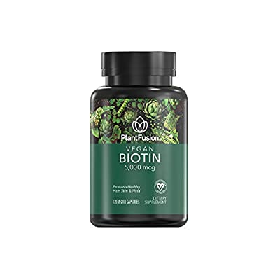 PlantFusion Biotin 5,000 mcg Vegan Vitamin | Supports Health Hair, Skin & Nails | Vegan Certified, Plant Based, Gluten and Soy Free, Dietary Supplement, 120-Day Supply, 120 Vegan Capsules