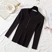 2021春と秋のユニバーサルファッションセクシー 2020秋冬ボタンVネックセーター女性基本スリムプルオーバー女性セーターとプルオーバーニットジャンパーレディーストップス オールマッチ婦人服の様々な種類 (Color : Black, Size : One Size)