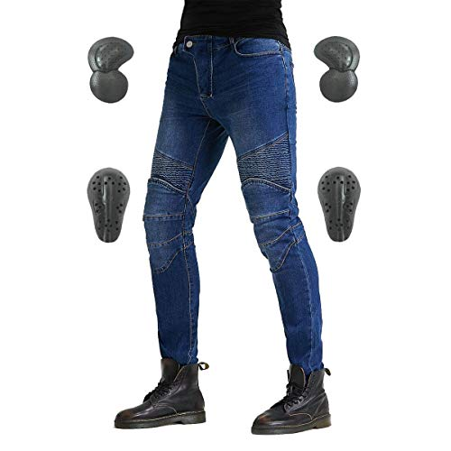 Motorcycle Riding Protective Pants, Motorbike Jeans, Motor Bicycle Trousers with CE Hip Knee Pads Blue S VES1