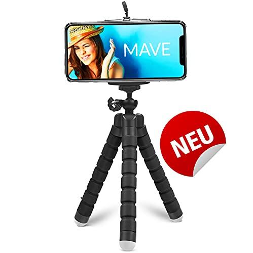 MAVE - Flexibles Handy Stativ für Smartphone - Tripod Stativ für Handy klein und Flexible Beine für jedes Phone wie iPhone Samsung, 3-Bein Handyständer für Tisch ist 360 Grad Drehbar inkl Halterung