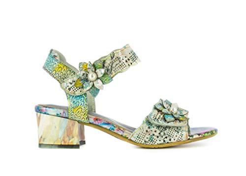 Laurra Vita HUCBIO 05 - Sandalias de piel para mujer, zapatos de ciudad de verano, brida de tobillo con suela cómoda de tacón – Estilo original flor, plata, (plata), 39 EU