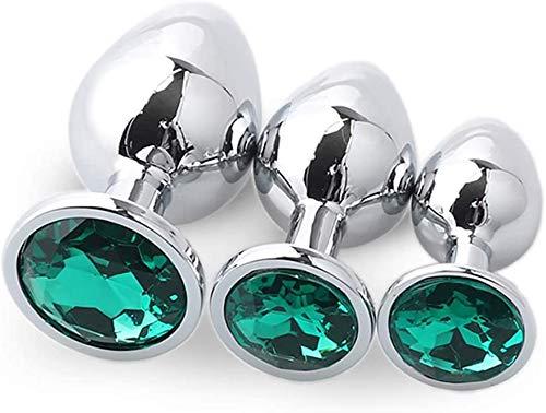3Pcs/Set Crystal Jewelry Àmàl Pluģ Gem Metal Jewel Diamond Stainless Steel Buttpluģ Set for Women/Men Beginner - Purple Round Bottom