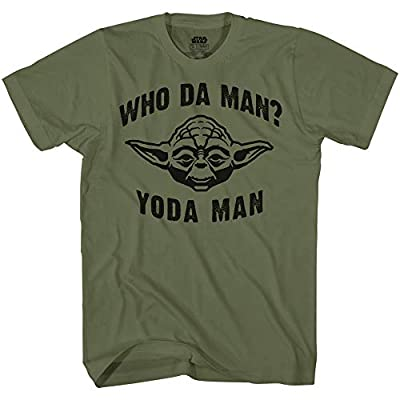 STAR WARS Who Da Man Yoda Classic Retro Vintage Movie Funny Adult Men's Graphic Tee Apparel T-Shirt (Olive, X-Large)