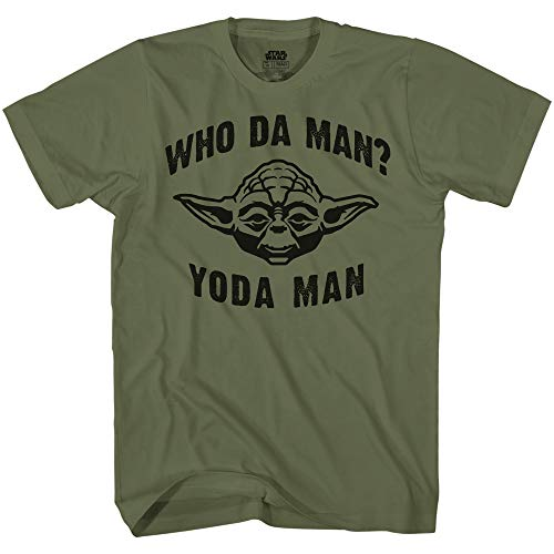 STAR WARS Who Da Man Yoda Classic Retro Vintage Movie Funny Adult Men's Graphic Tee Apparel T-Shirt (Olive, Large)