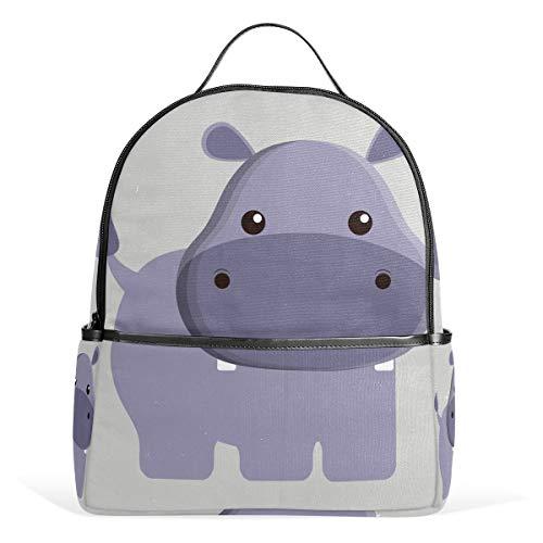 ISAOA Mochila escolar ligera, casual, para jóvenes adolescentes, niñas y niños, diseño de hipopótamo