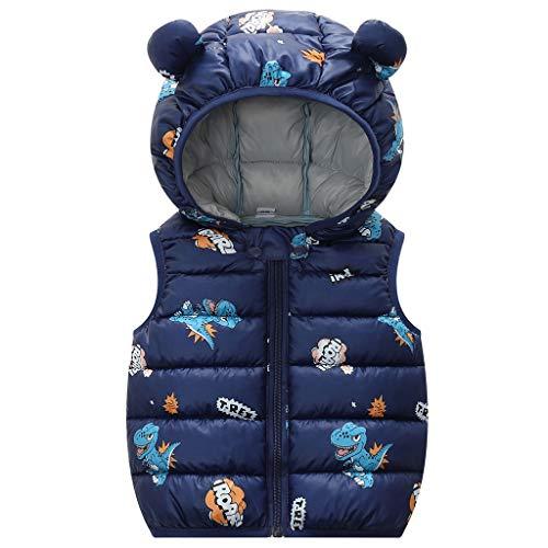 Bambini Gilets Invernali Veste Cappotto Giacca Per Bambino Senza Maniche Ragazzo Leggero Imbottito Caldo Outwear Blu 3-4 Anni