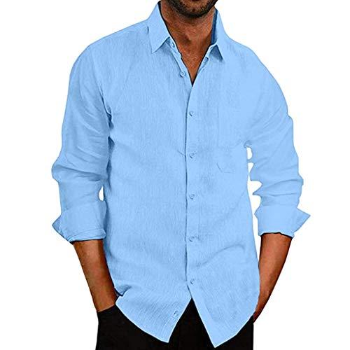 Herren Baggy Baumwollmischung Tasche Einfarbig Langarm Retro T Shirts Tops Hemd Vintage Hawaiihemd Karohemd Businesshemden Freizeithemden Langarmhemd mit Taschen Winterjacke Lederhosen