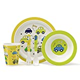 GLCS GLAUCUS Vajilla de bambú para niños 5 Piezas Set 100% Fibra de Bambú, Sin BPA, Ecológica Reciclaje, lavar para lavavajillas - Auto