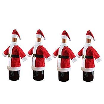 Katahomie Santa Coat and Hat Wine Bottle Cover For All Standard 750ml Wine Bottles Christmas Themed Santa Suit and Hat Design Pack of 4