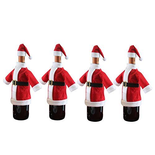 Katahomie Santa Coat and Hat Wine Bottle Cover For All Standard 750ml Wine Bottles, Christmas Themed Santa Suit and Hat Design Pack of 4