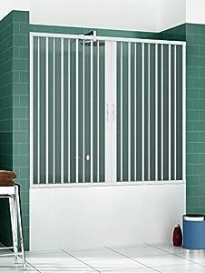 RL Puerta Mampara de bañera 170 CM de PVC Mod. Nina con Apertura Central