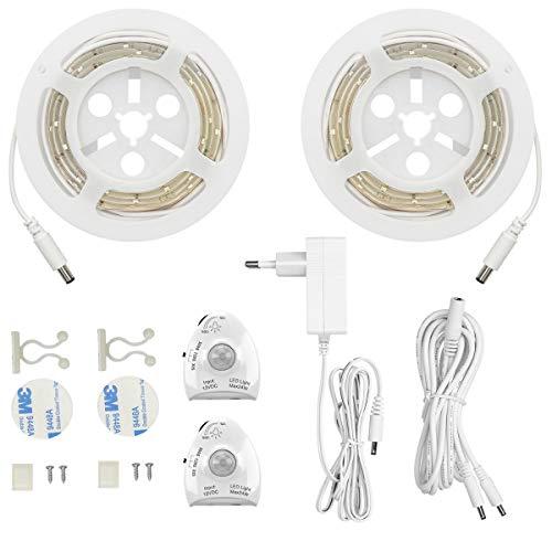 LED Bettlicht mit Bewegungssensor, Bett Lichtleiste Nachtlicht Baby Steckdose Streifen Dimmbar, Bewegungsmelder Licht Leiste, Baby Licht Bett Warmweiß (2PC)