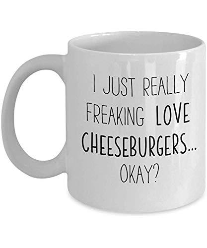 Freaking Love Cheeseburger Kaffee-Haferl Amarican Food Lover Teetasse Lebensmittel Freund Geschenk Student Present