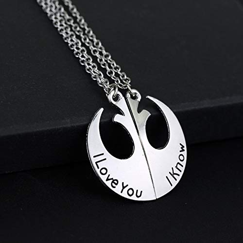 DTKJ Movie Star Wars Rückkehr der Jedi'I Love You & I Know Logo Halskette Männer und Frauen Liebhaber Halsketten Anhänger Schmuck