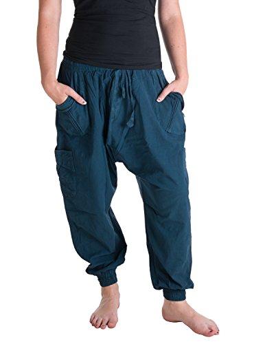 Vishes – Alternative Bekleidung – Sommer Haremshose mit Taschen aus Baumwolle mit elastischem Bund – handgewebt türkis Einheitsgröße 38 bis 44