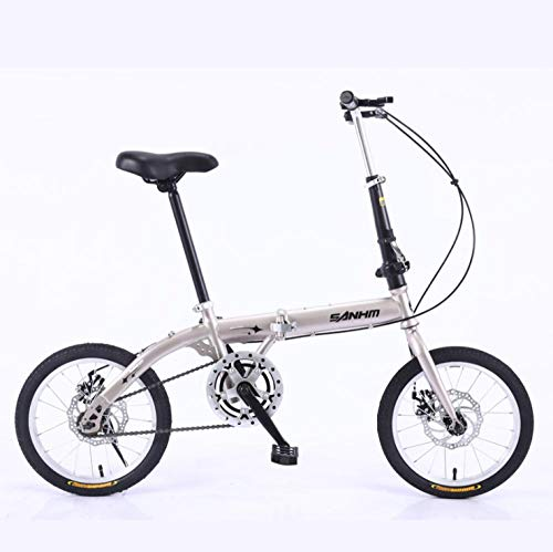 DGAGD 14 inch Lightweight Folding Bicycle Single Speed disc Brake Bicycle Champagne Gold-A