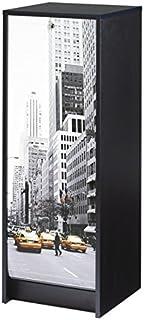 SIMMOB Boost Classeur Noir Rideau Imprimé-Coloris-Scene New York 504, Bois, 38,5x38x103,8 cm