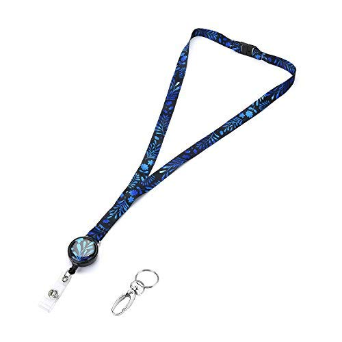 Grekywin Unique Fashion Neck Lanyard Retractable Badge Holder with Retractable Badge Reel and Safety Clasp for ID Badge for Men and Women