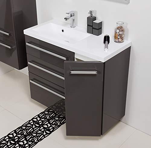 Quentis Badmöbel Genua, Breite 90 cm, anthrazit glänzend, Waschbeckenunterschrank mit 3 Schubladen und 1 Türe