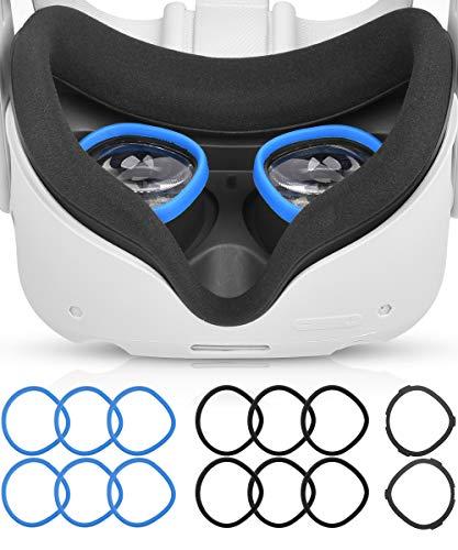 AkoaDa Objektiv Anti Kratzring, Der Myopie Brillen Vor Kratzern Schützt VR Headset Objektiv Kompatibel Mit Oculus Quest 2, Quest, Rift S oder Oculus Go (Schwarz+Blau)