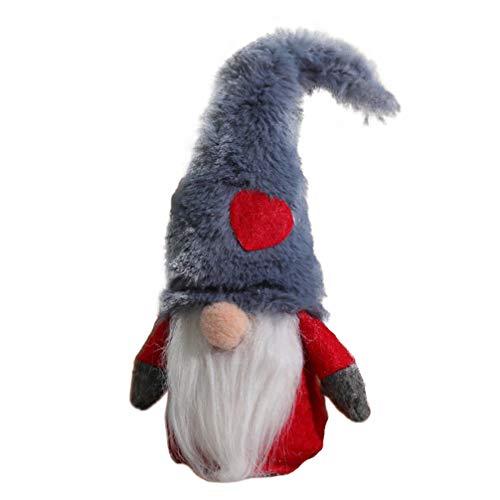 Amosfun Christmas Santa Gnome Plush Doll Tomte Elf Dwarf Ornament Christmas Tree Topper Tabletop Decorations Grey