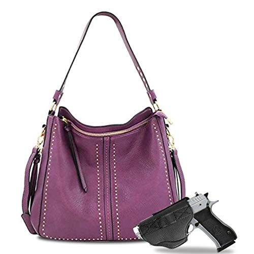 Large Concealed Carry Hobo Purses for Women Studded Leather Crossbody Shoulder Handbags With Gun Holster MWUSA MWC-G1001PP