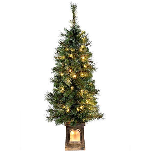 XBR Artificial Christmas Tree, Blue Spruce Christmas Tree with 70 Warm White LED Lights, 4 feet/1.2 m - Green