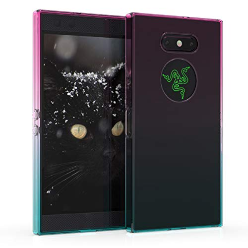 kwmobile Razer Phone 2 Hülle - Handyhülle für Razer Phone 2 - Handy Case in Zwei Farben Design Pink Blau Transparent