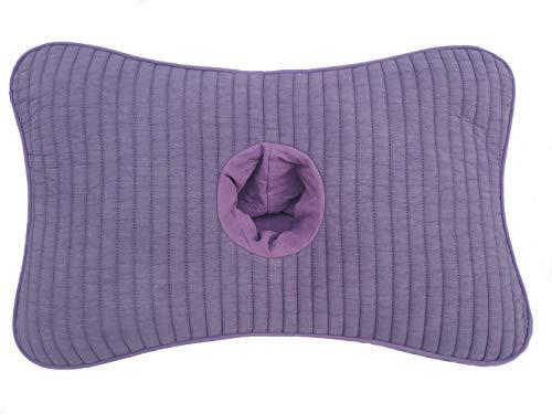 BAYU Almohada saludable con un agujero para los oídos relleno con mijo / cascos de trigo sarraceno, Púrpura