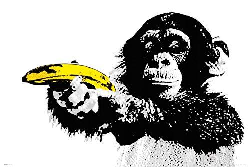 Banksy Monkey with Banana Gun - Pistole Graffiti Urban Street Art-Poster,12x18inches,30x46cm
