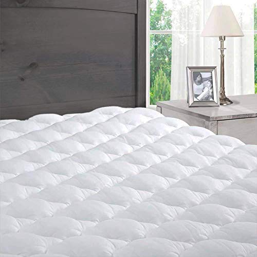 ExceptionalSheets Pillowtop Queen Mattress Topper with Fitted Skirt - Cooling Mattress Topper with Extra Plush Pad...