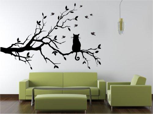 Dalinda® Wandtattoo Katze auf AST Nr. L202 Wandsticker Wandmotiv Wandaufkleber Wanddekoration