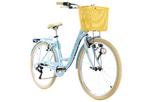 KS Cycling Damenfahrrad 28'' Cantaloupe blau mitKorb Dacapo RH48 cm