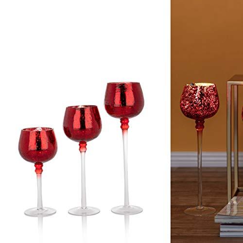 3er Set Glaskelche mit LED Lichterkette und Timer - Windlicht, Kerzenständer, Kerzenhalter (Rot)