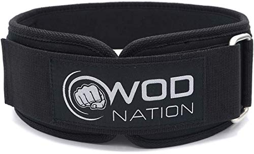 WOD Nation Weight Lifting Belt - 4 Inch Firm Support Nylon Weight Belt for Deadlift, Squat & Weightlifting - Sizes for Both Men & Women - Small