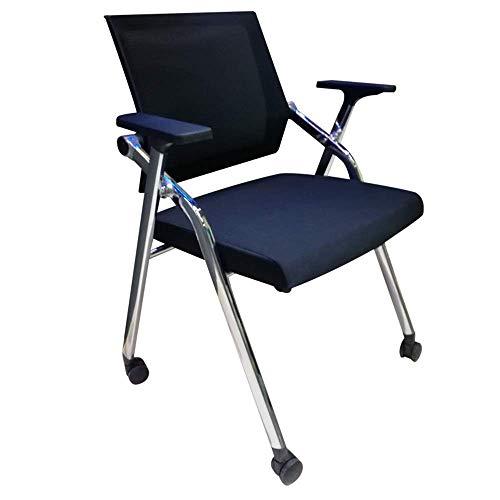 Silla de oficina plegable de malla con ruedas y tabla de escritura, silla de oficina, con soporte lumbar., Aleación de acero, negro, 60 x 50 x 87cm