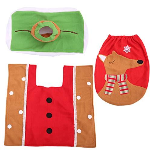 MOONRING Weihnachten WC Set Elch Kleintier Stil Bad Teppich Wc Badezimmer Urlaub WC Dekoration Set