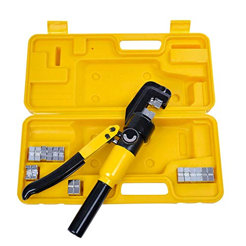 CooPee 10 Ton Hydraulic Wire Crimper Battery Cable Lug Terminal Crimping Clamp Tool with 9 Dies