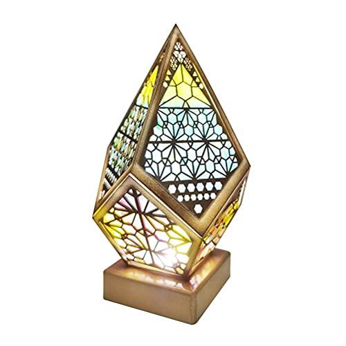 Funmix Lámpara decorativa de piso bohemia, lámpara de piso LED de estrella polar colorida Lámpara hueca de proyección 3D Luz de noche geométrica, luz de decoración ideal para festivales en casa
