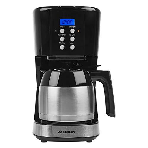 MEDION Kaffeemaschine mit Thermoskanne und Timer (900 Watt, 1 Liter Fassungsvermögen, 8 Tassen, Tropf-Stopp, MD 18088) schwarz