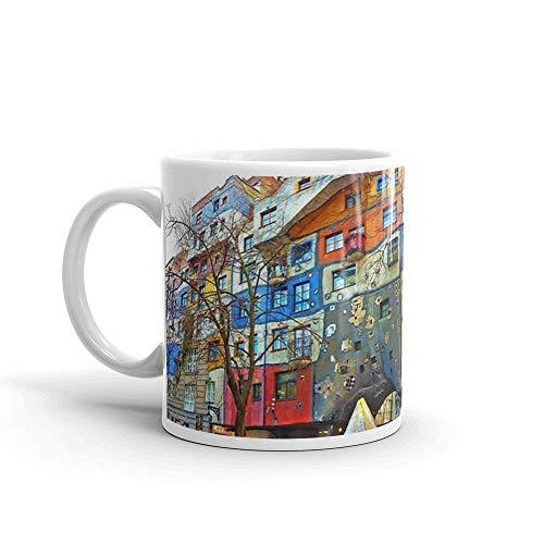 Lsjuee Hundertwasser Haus Wien Becher 11 Unzen weiße Keramik
