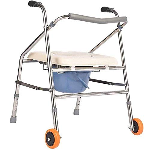 Caminantes para personas mayores Silla de caminata, sillas de comodilla Silla de baño, Taburete de ducha, Polea, Movible, Walker Baño con ruedas Asiento de baño con baño de acero inoxidable Taburete A